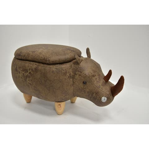 Kids Upholstered Rhino Ottoman with Storage