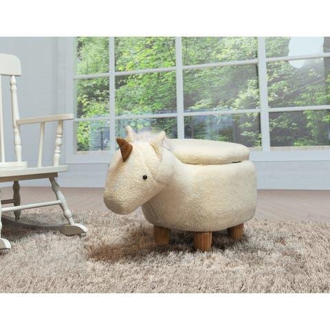 Kids Upholstered Unicorn Ottoman with Storage