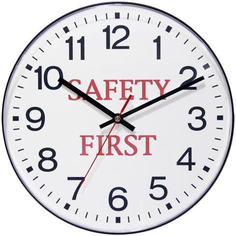 Safety First 12 inch Business Warehouse Black Wall Clock