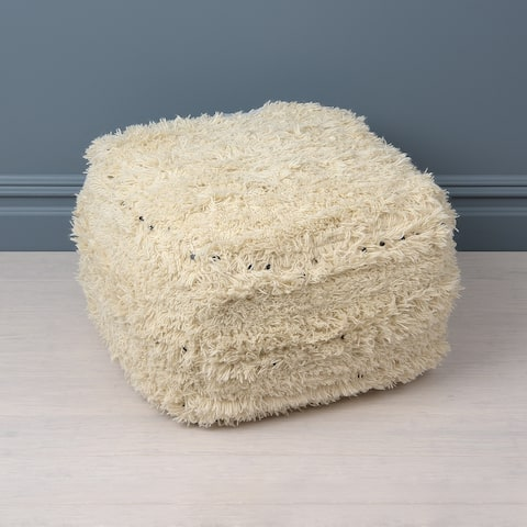 Aurora Home White Pouf with Black Sequins