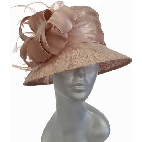 Designer Couture special occasion sinamay straw hat covered with lace