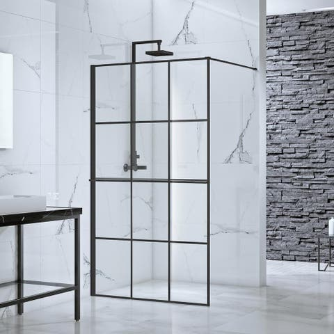 "Toure Glass Fixed Panel Shower Wall, 39""x77"", Black Finish"