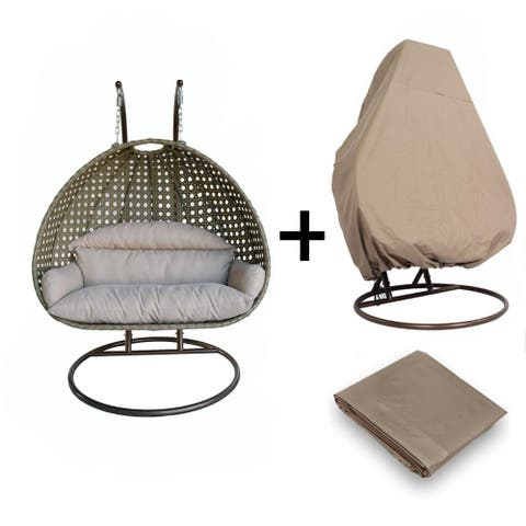 LeisureMod Wicker Double Hanging Egg Swing Chair With Outdoor Cover