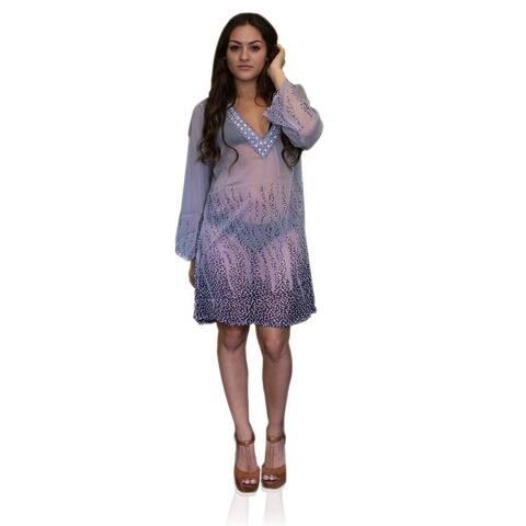 Peach Couture Multi Print Drape Cover Up Tunic Top Swim Dress