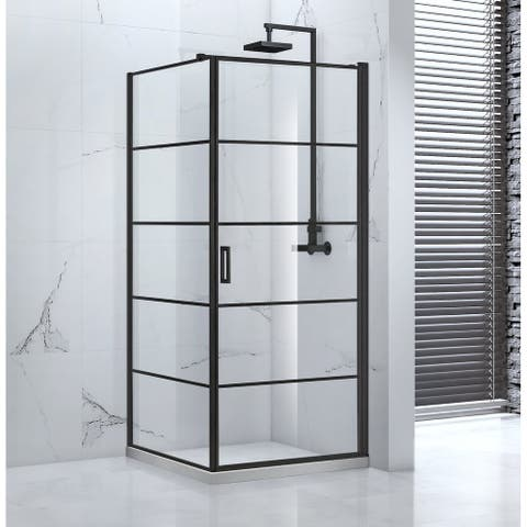 "Vaneau Glass Pivot Shower Enclosure, 36""x36""x77"", Black Finish"