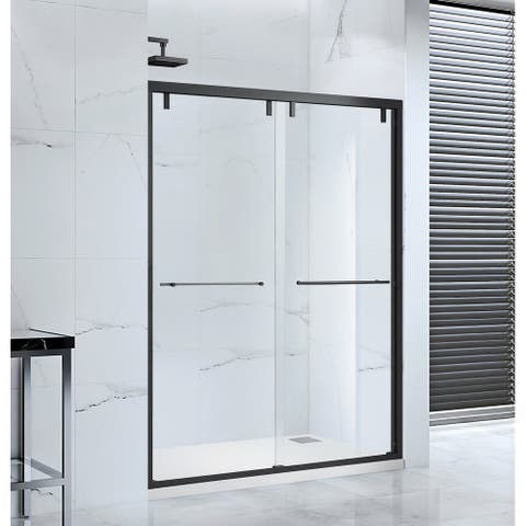 "Lido Glass Bypass Sliding Shower Door, 60""x76"", Black Finish"