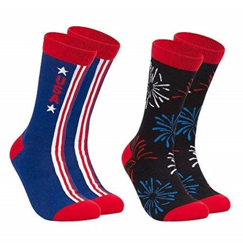 2-Pair Casual Crew Socks for Independence Day Patriotic Unisex for Men Women