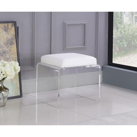 Somette Cara Contemporary Acrylic & White Upholstered Ottoman