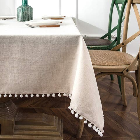 DriftAway Pom Pom Tassel Rectangle Linen Blend Decorative Table Cloth