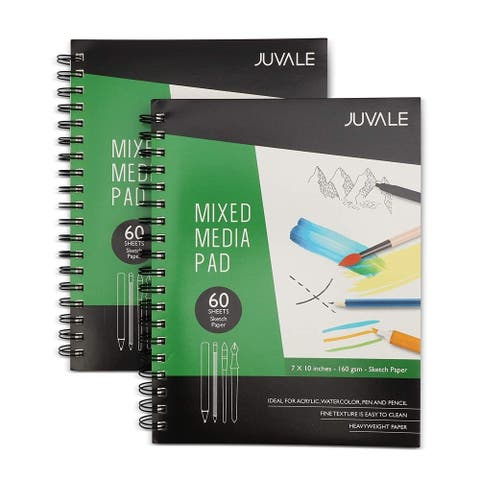 """2x Mixed Media Sketchbook Notebook Drawing Pad Art Paper Wet and Dry Media 7x10"""" - White - 2 Pack"""