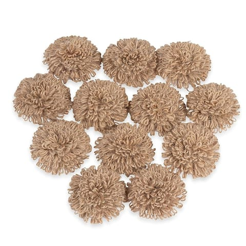 12 Pack 2.2 in Burlap Flowers Fabric for Wedding Decorations Crafts Art Embellishments Floral Ornaments - Brown - 2.2""