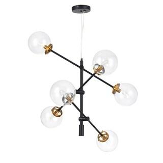 CO-Z 6-Light Black and Antique Brass Modern Sputnik Chandelier