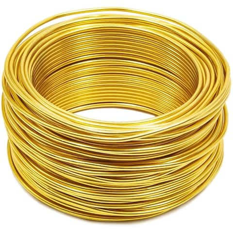 101 Feet 12 Gauge Aluminum Wire for DIY Art & Crafts Jewelry Making, Light Yellow