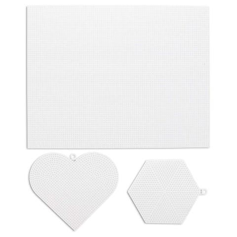 26-Pack Plastic Canvas Needlepoint Set - 20 Square Blank Sheets, 3 Heart, and 3 Hexagon Shapes, for Craft DIY - White