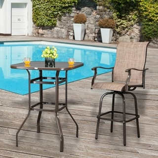 39 Wrought Iron Glass High Bar Table Patio Bar Table Overstock 31000688