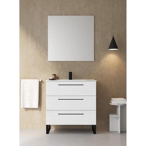 """32"""" Bathroom Vanity Cabinet Denver RHD Designer White Wood Black Handles and Legs Vanity + Ceramic Top Sink"""