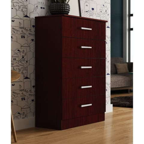 Hanover Solid Wood Mahogany Tall 5 Drawer Chest