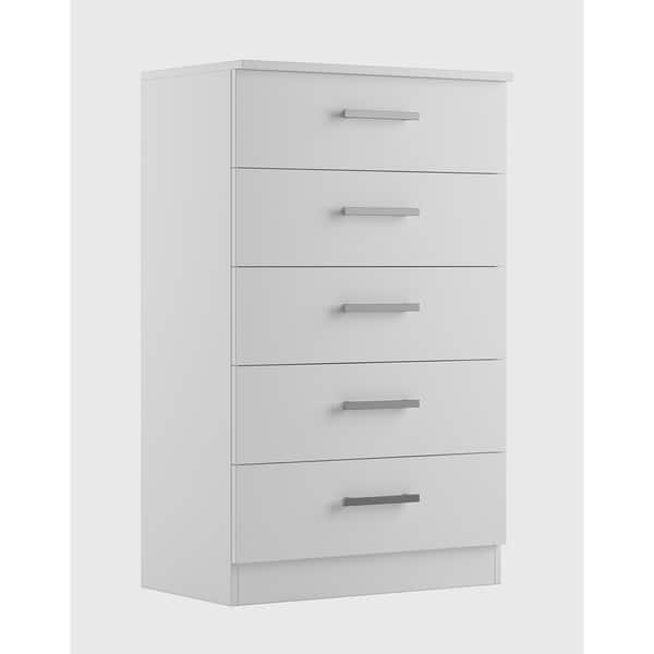 Hanover Solid Wood White 5 Drawer Chest