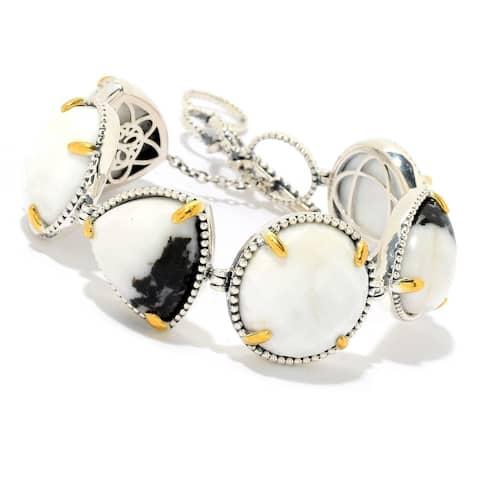 925 Sterling Silver White Magnesite,White Buffalo Adjustable Bracelet