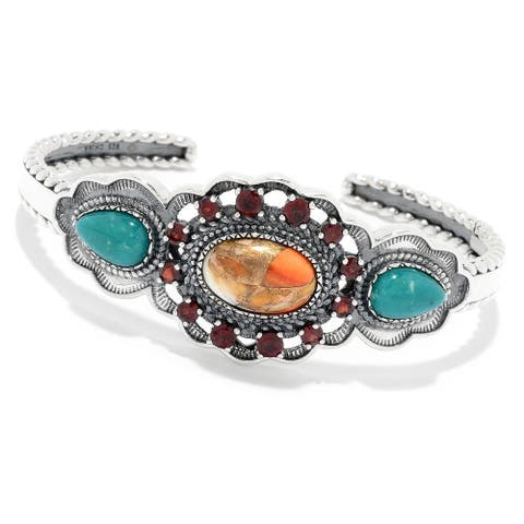 Pinctore 925 Sterling Silver CampoFrio Turquoise,Red Garnet,Orange Spiny Bangle
