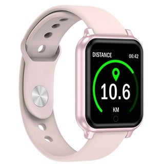 Fitness Tracker Bluetooth Smart Watch Sport Wristband IP67 Waterproof Heart Rate Blood Pressure Monitor for IOS Android (Rose gold)
