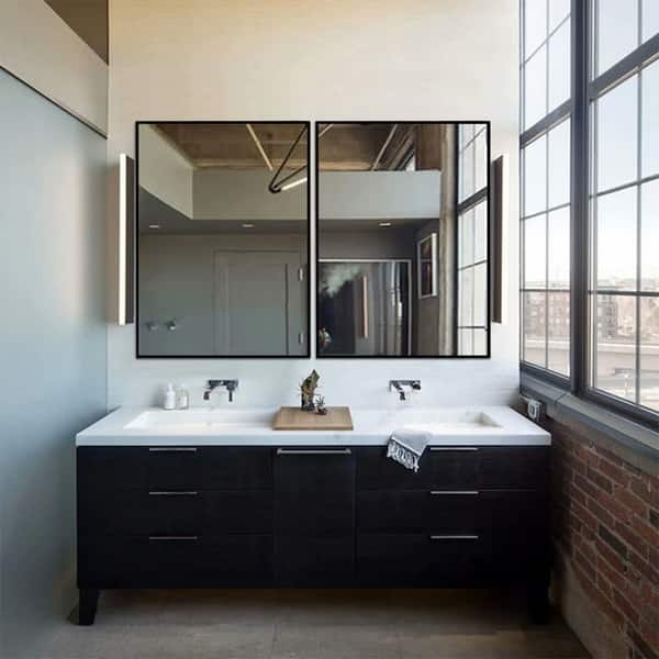 Shop Modern Thin Frame Wall Mounted Hanging Bathroom Vanity Mirror Overstock 31000854 37 8 X26
