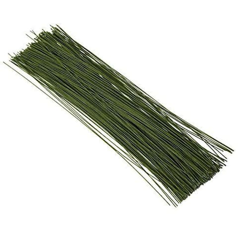 "300x Floral Flower Wire Stems Wrapped 25 Gauge for DIY Crafts Wedding Green 16"" - 300 Count"