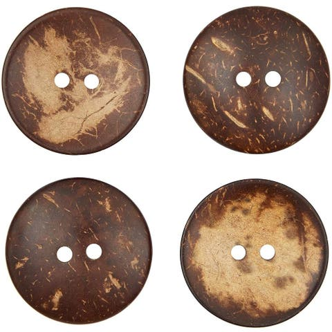 50 Pack Coconut Shell Buttons with 2 Holes for Crafts, Sewing, Brown, 2 inch - 50 Pack
