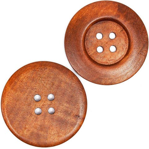 30x Pearwood Buttons with 4 Holes for Crafts, Sewing, Scrapbooking Brown 2.36 in - 30 Pack