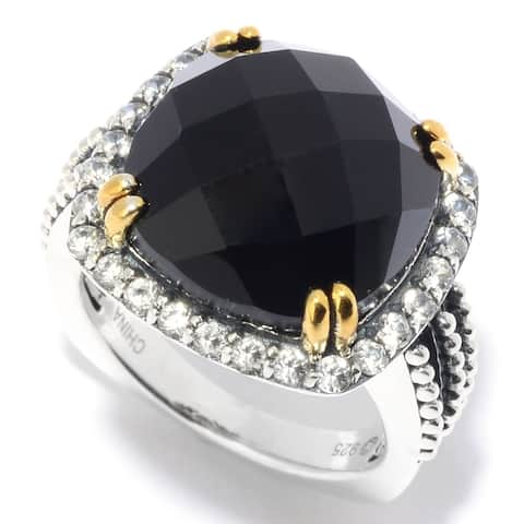 Pinctore 925 Sterling Silver White Natural Zircon,Black Agate Ring