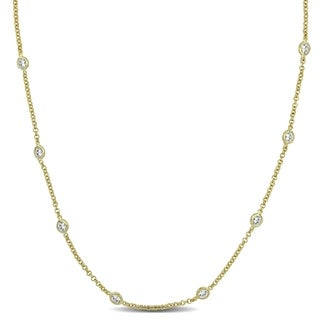 10ct TW Cubic Zirconia by the Yard Station Necklace in Yellow Plated Sterling Silver by Miadora
