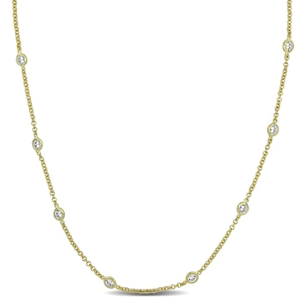 10ct TW Cubic Zirconia by the Yard Station Necklace in Yellow Plated Sterling Silver by Miadora. Opens flyout.