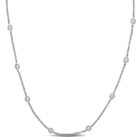 10ct TW Cubic Zirconia by the Yard Station Necklace in Sterling Silver by Miadora