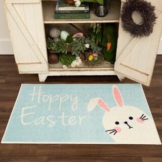 Hoppy Easter Bunny Light Blue Accent Rug