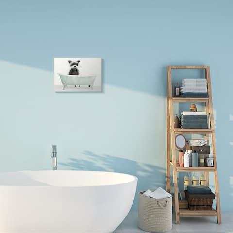 Stupell Industries Raccoon In A Tub Funny Animal Bathroom Drawing,10 x 15, Wood Wall Art