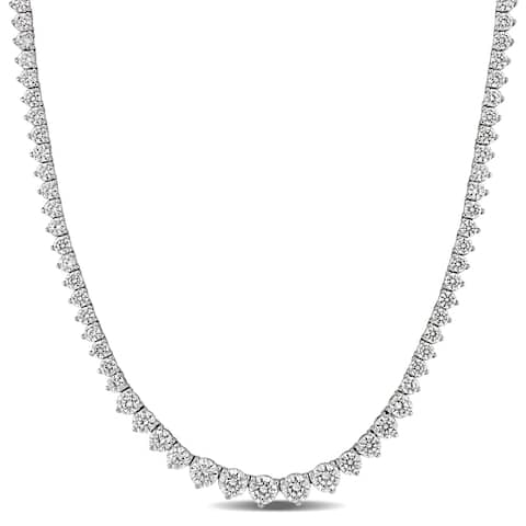 27ct TW Cubic Zirconia Vintage Tennis Necklace in Sterling Silver by Miadora - 18 in x 5.5 mm x 4 mm - 18 in x 5.5 mm x 4 mm
