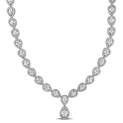 Halo Pear-Cut 38ct TW Cubic Zirconia Vintage Y Tennis Necklace in Sterling Silver by Miadora - 18 in x 9 mm x 4 mm