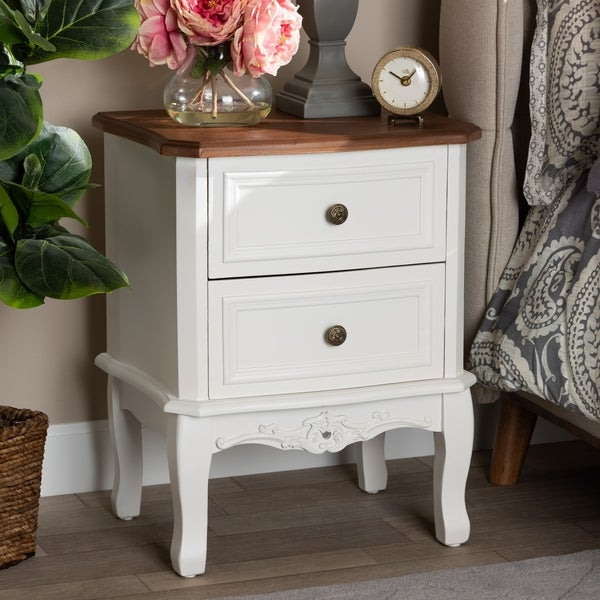 Gracewood Hollow Benjam Traditional French 2-drawer Nightstand. Opens flyout.