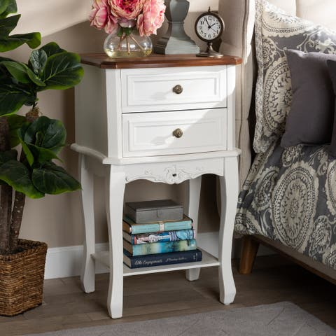 Gracewood Hollow Benjam Classic French 2-drawer Nightstand with Lower Shelf