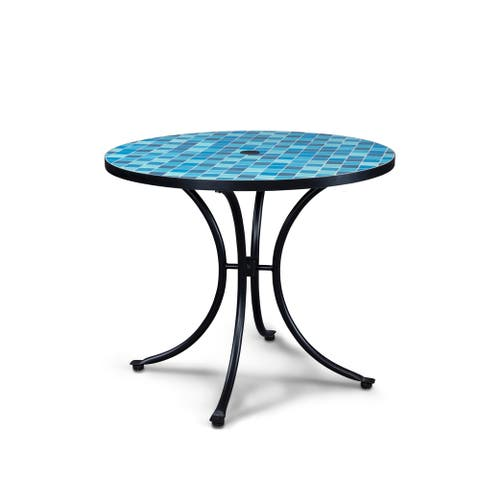 Larimar Outdoor Blue Tile Top Table