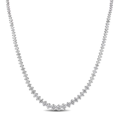 25ct TW Cubic Zirconia Graduated Tennis Necklace in Sterling Silver by Miadora