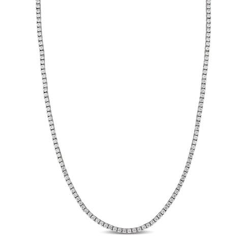 32 1/3 TW Cubic Zirconia Classic Tennis Necklace in Sterling Silver by Miadora