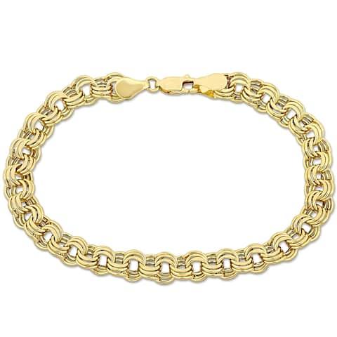 Miadora 14k Yellow Gold Triple Link Bracelet