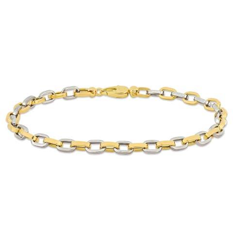 Miadora 18k 2-tone Yellow and White Gold Oval Link Bracelet