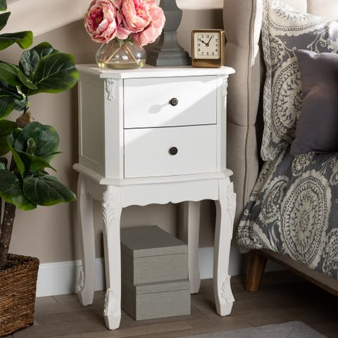 Gracewood Hollow Benjam Traditional French 2-drawer Nightstand with Elegantly Curved Legs