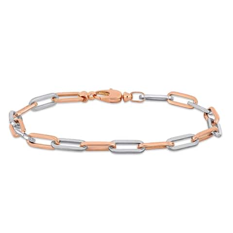 Miadora 18k 2-tone Rose and White Gold Oval Link Bracelet