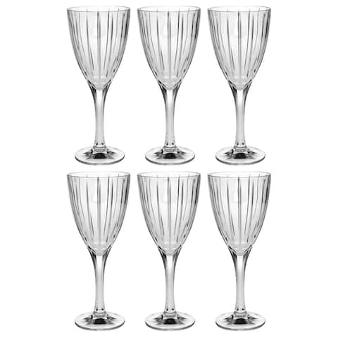 Majestic Gifts Inc. Crystal Wine Goblet-Clear striped design-set/6