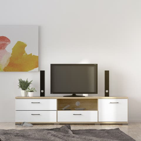 Porch & Den Mendota Oak Structure and White High Gloss 3-drawer TV Stand