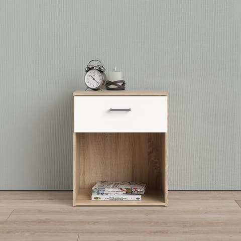 Porch & Den Space Oak Structure and White 1-drawer Nightstand