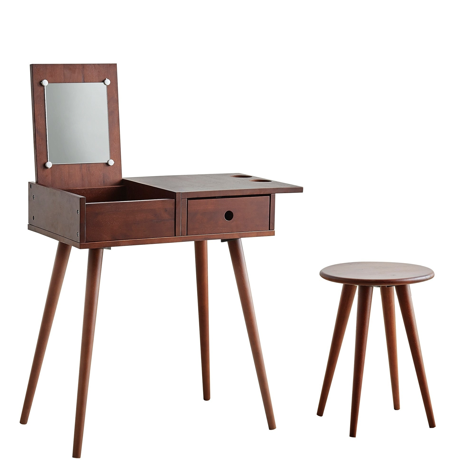 Picture of: Shop 45 In Mid Century Modern Vanity Desk Set Overstock 31009894 Natural